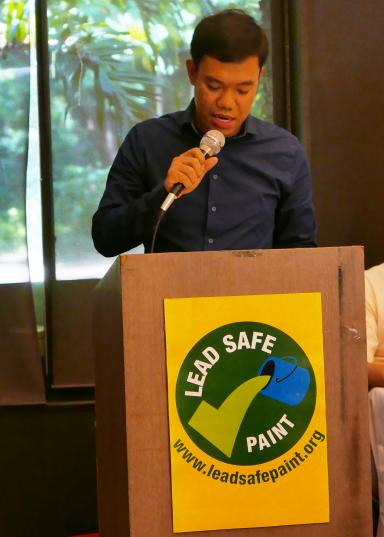 Jeiel Guarino, IPEN Lead Paint Elimination Project Campaigner, speaking at the press conference. Photo by Faye Ferrer.