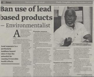 Ban use of lead based products
