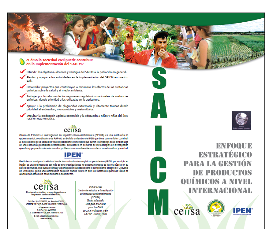 Cover of a brochure about SAICM that CEIISA produced
