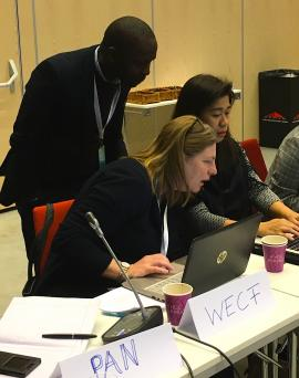 Griffins Ochieng (CEJAD), Johanna Hausmann (WECF) and Lia Esquillo (IPEN / EcoWaste Coalition) looking at questions for the group discussion