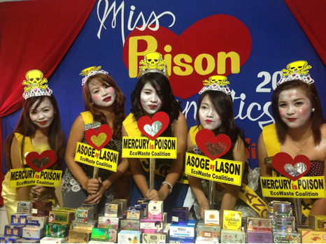 "EcoWaste Coalition staged a mock ""Miss Poison Cosmetics"" beauty pageant as part of their IMEAP project to draw public attention to the danger of using mercury-containing skin-whitening products. Photo by EcoWaste Coalition."