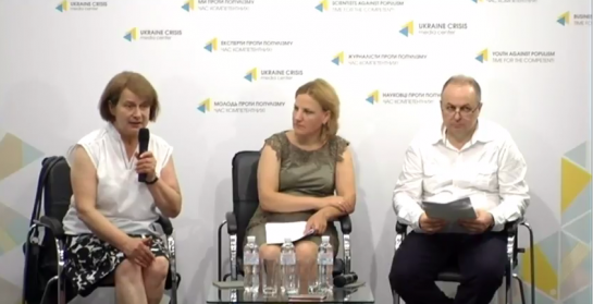 Olga Tsygulyova (MAMA-86) speaking during the press briefing